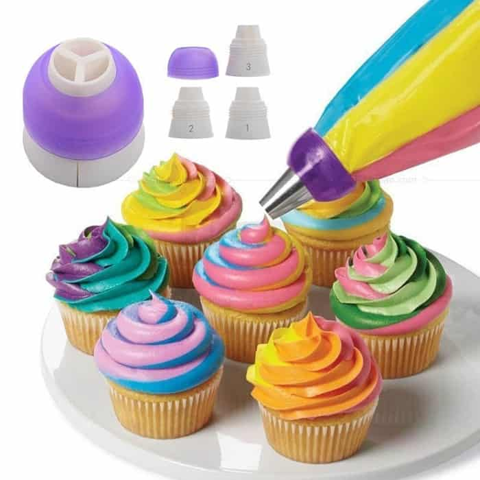 image contains cupcakes with frostings